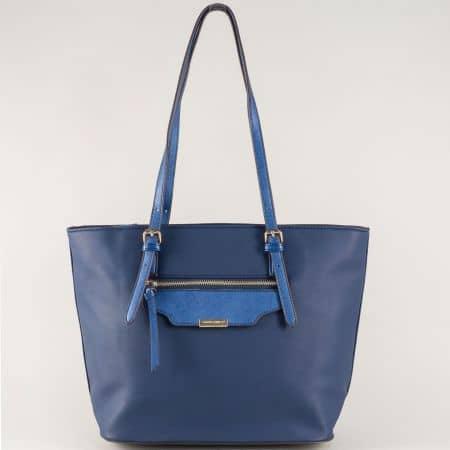 Дамска чанта в син цвят- David Jones с външен джоб с цип ch5290-3s
