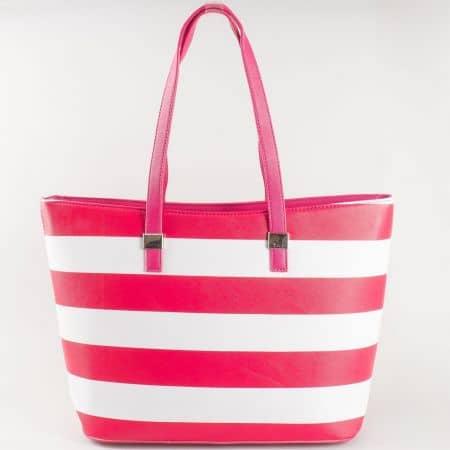 Френска дамска чанта с две удобни дръжки и принт райе в розово и бяло ch5096-2chv