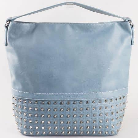 Дамска ежедневна чанта с атрактивна визия и капси на френската марка David Jones в син цвят ch5106-1s