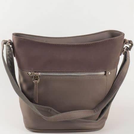 Дамска чанта за всеки ден в тъмно кафяв цвят с дълга регулируема дръжка- David Jones  ch5250-2kk