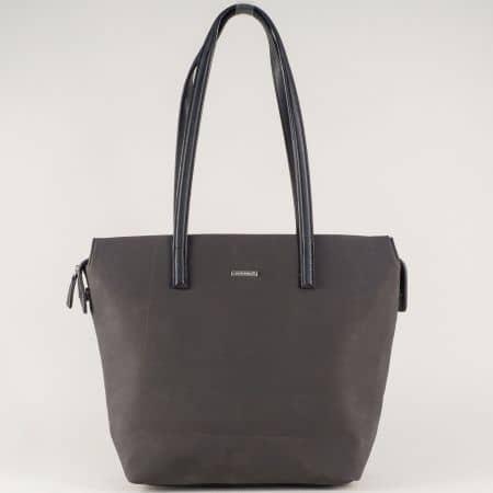 Стилна дамска чанта в черно с две къси дръжки ch5282-2ch