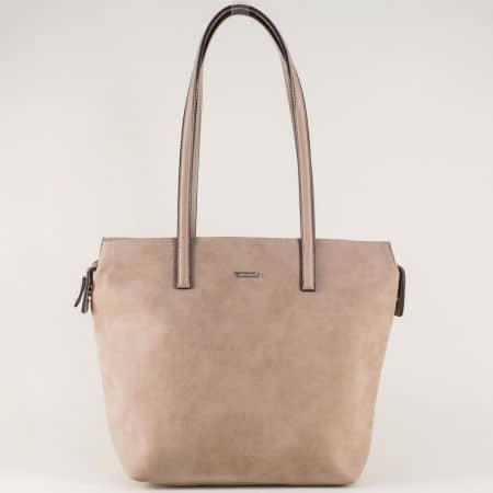 Кафява дамска чанта- David Jones с елегантна визия ch5282-2k