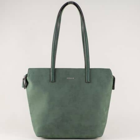 Модерна дамска чанта е зелено с една преграда и удобни дръжки ch5282-2z