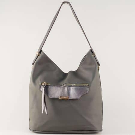 Дамкса чанта- David Jones с удобен преден джоб в сив цвят ch5290-2sv