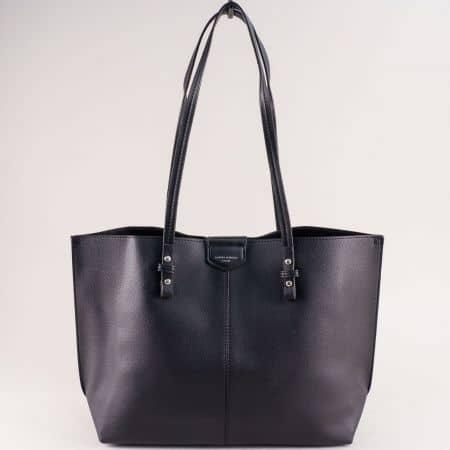Дамска чанта в черен цвят с органайзер- DAVID JONES cm5311ch