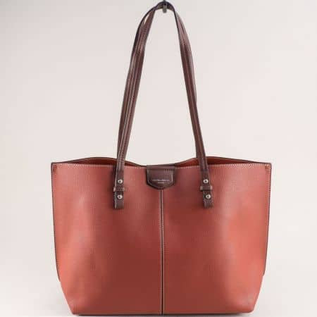 Френска дамска чанта с органайзер в тъмно кафяво cm5311kk