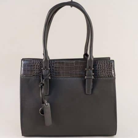 Дамска чанта в сив цвят с частичен кроко принт  ch5330-21sv