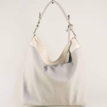 Дамска чанта, тип торба в сиво и бежово- DAVID JONES ch5566-1sv