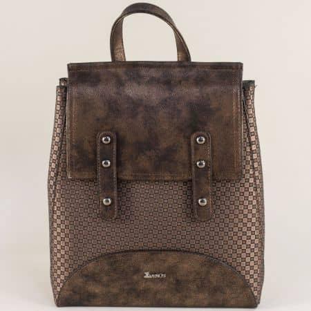 Тъмно кафява дамска раница- чанта с твърда структура ch572k