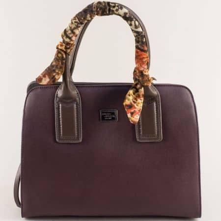 Дамска чанта с три прегради в цвят бордо-  DAVID JONES ch5841-2l