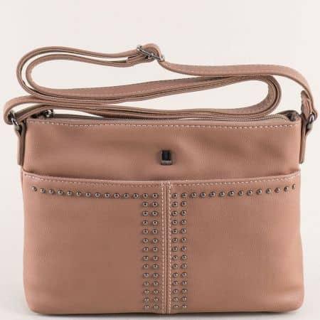 Светло кафява дамска чанта с капси- DAVID JONES ch5850-1k