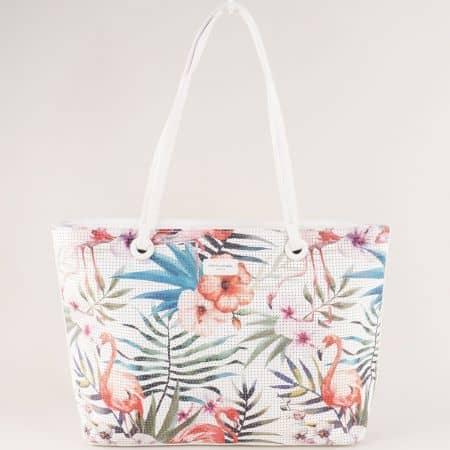 Бяла дамска чанта с пъстър флорален принт- DAVID JONES ch5923-3ab