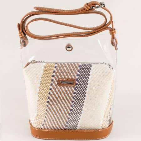 Кафява дамска чанта с регулируема дълга дръжка ch5941-1k