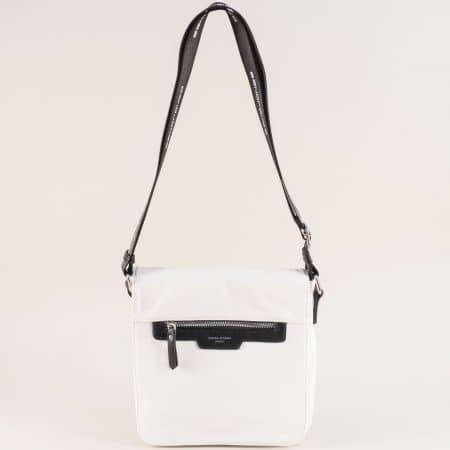 Дамска чанта в черно и бяло с дълга дръжка- DAVID JONES ch5980-2b
