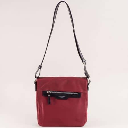 Дамска чанта в черно и бордо с дълга дръжка- DAVID JONES ch5980-2bd