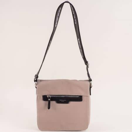 Бежова дамска чанта с дълга дръжка- DAVID JONES ch5980-2bj
