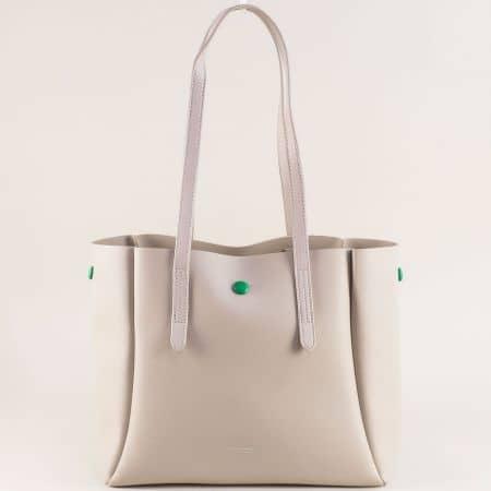 Дамска чанта в сив цвят с органайзер- DAVID JONES ch5991-2sv