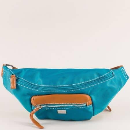 Тюркоазено синя дамска чанта за кръста- DAVID JONES ch6008-1z