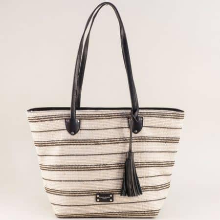 Дамска чанта с пискюл в черно и бежово- DAVID JONES ch6013-2ch