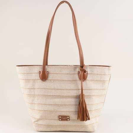 Дамска чанта с пискюл в бежово и кафяво- DAVID JONES ch6013-2bj
