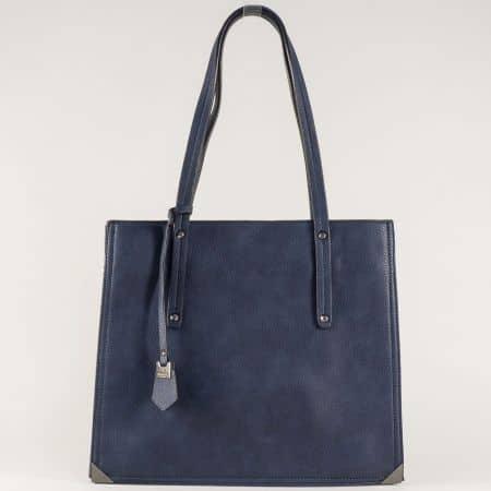 Ежедневна дамска чанта в синьо с удобни прегради с цип ch602s