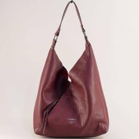 Дамска чанта, тип торба с органайзер в цвят бордо ch6102-1bd