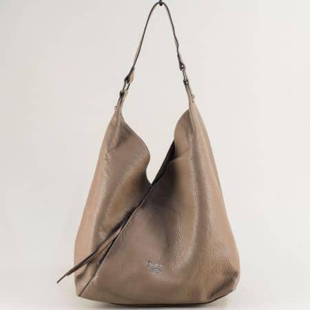 Бежова дамска чанта, тип торба с органайзер ch6102-1bj