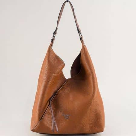 Кафява дамска чанта с органайзер и външен джоб с цип ch6102-1k