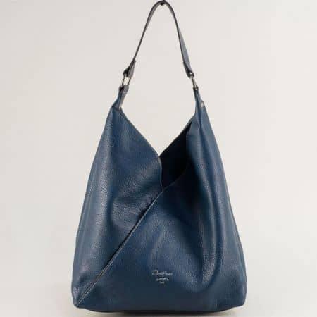 Дамска чанта с органайзер в син цвят- DAVID JONES ch6102-1s