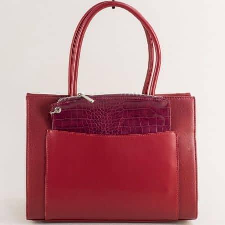 Дамска чанта с твърда стуктура и органайзер в бордо ch6105-2bd