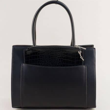 Черна дамска чанта с твърда стуктура и органайзер ch6105-2ch