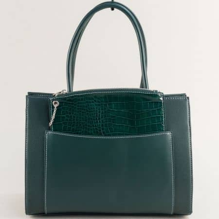 Зелена дамска чанта с ефектен органайзер- DAVID JONES ch6105-2z