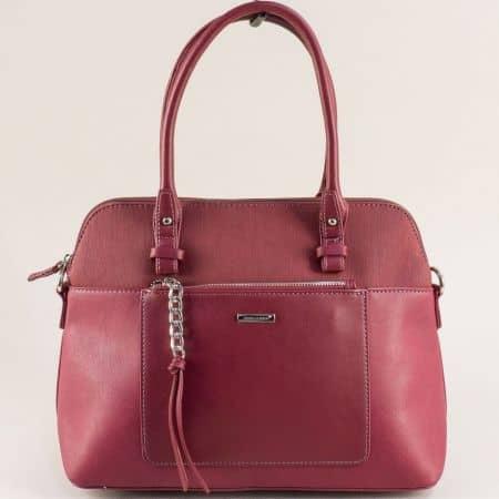 Дамска чанта с два външни джоба- DAVID JONES в бордо ch6109-3bd