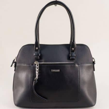 Черна дамска чанта с два външни джоба- DAVID JONES ch6109-3ch