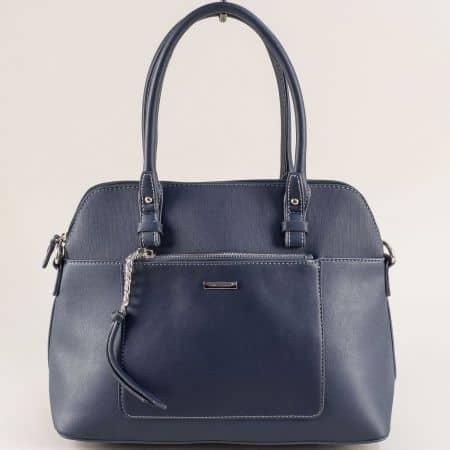 Синя дамска чанта с два външни джоба- DAVID JONES ch6109-3s