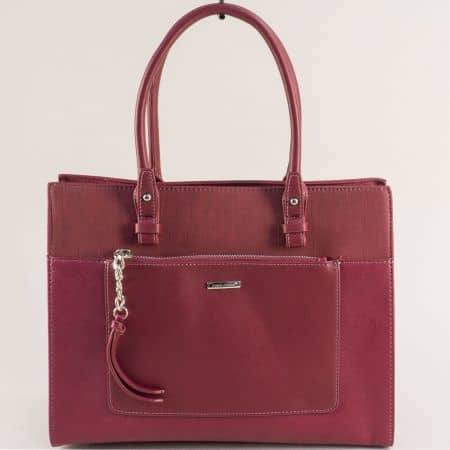Дамска чанта в бордо с твърда структура- DAVID JONES ch6109-4bd