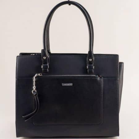 Черна дамска чанта- DAVID JONES с твърда структура ch6109-4ch