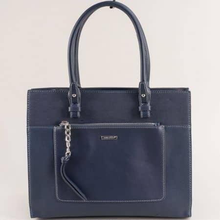 Синя дамска чанта с твърда структура- DAVID JONES ch6109-4s