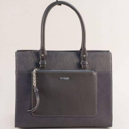 Сива дамска чанта с твърда структура- DAVID JONES ch6109-4sv
