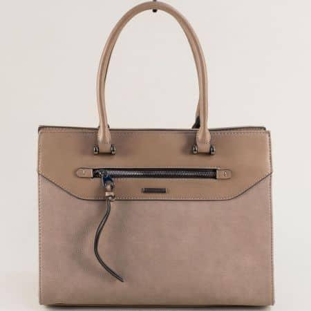 Бежова дамска чанта с две външни джобчета с цип ch6110-5abj