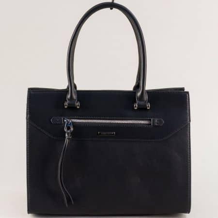 Дамска чанта с две къси и дълга дръжка в черен цвят ch6110-5ach