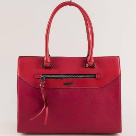 Червена дамска чанта с твърда структура- DAVID JONES ch6110-5achv