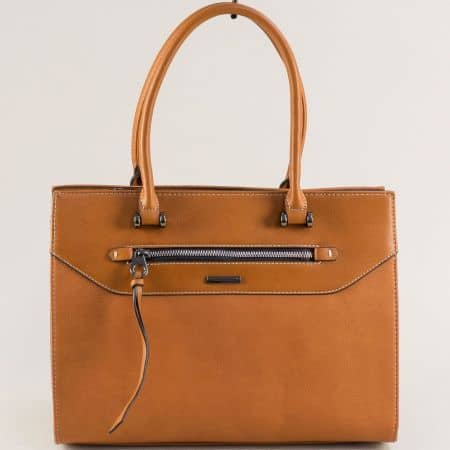 Кафява дамска чанта с дълга и две къси дръжки ch6110-5ak