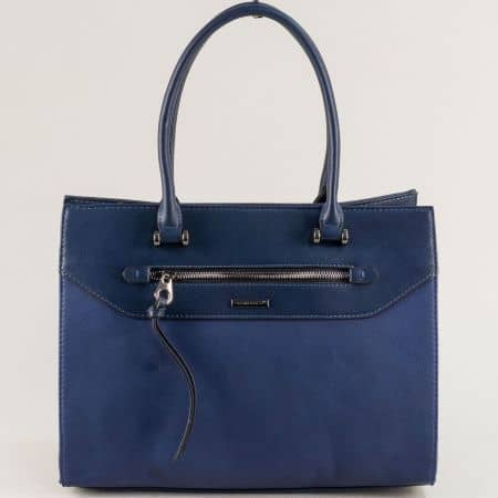 Синя дамска чанта с две къси и дълга дръжка- DAVID JONES ch6110-5as