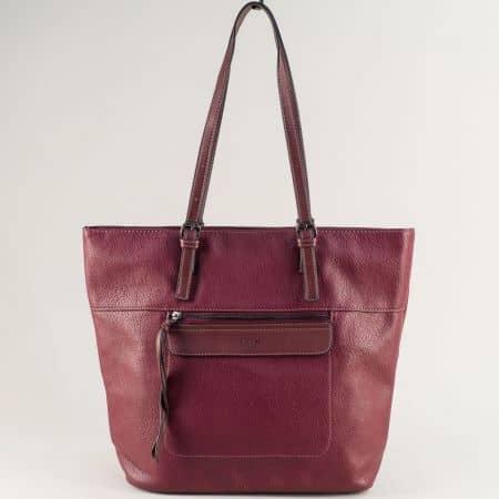 Дамска чанта с две дръжки в цвят бордо-  DAVID JONES ch6114-3bd