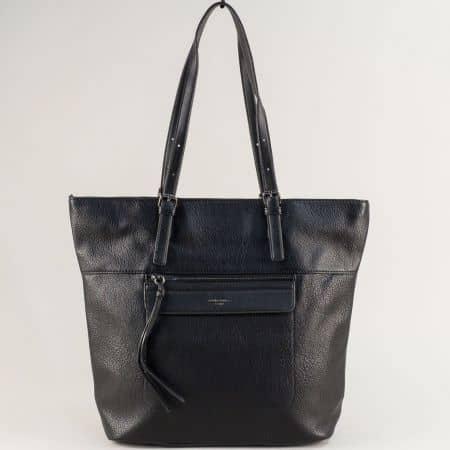 Черна дамска чанта с две регулируеми дръжки- DAVID JONES ch6114-3ch