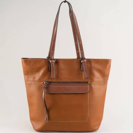 Дамска чанта с две средни дръжки- DAVID JONES в кафяво ch6114-3k