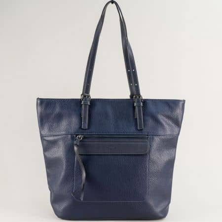 Тъмно синя дамска чанта с две средни дръжки ch6114-3s