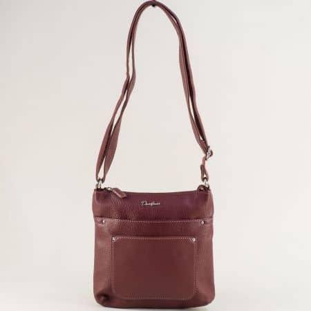 Дамска чанта в цвят бордо с дълга дръжка- DAVID JONES ch6115-2bd