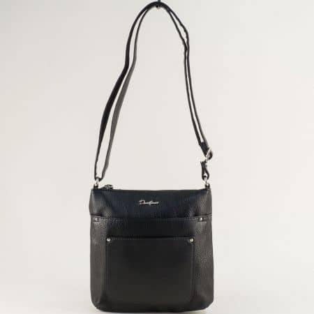 Дамска чанта с дълга дръжка в черен цвят- DAVID JONES ch6115-2ch